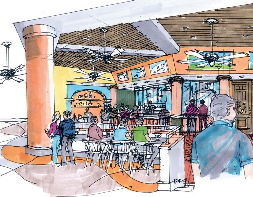 Premier Food Services, in partnership with the 22nd District Agricultural Association, is proposing Equus Brewing and Gardens as an alternative use for Surfside Race Place. It would feature tasting rooms, an exhibit area that would include a history of beer making in San Diego and an education center offering classes on how to become a brewer. Image courtesy of Froehlich, Kow & Gong Architects, Inc.