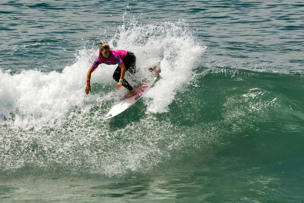 Coco Ho of Hawaii competes in Heat 8 of the ASP 6-Star Ford Supergirl Pro Surf Contest held in 2 to 3 foot surf in Oceanside Aug. 2 through Aug. 4. Photo by Bill Reilly