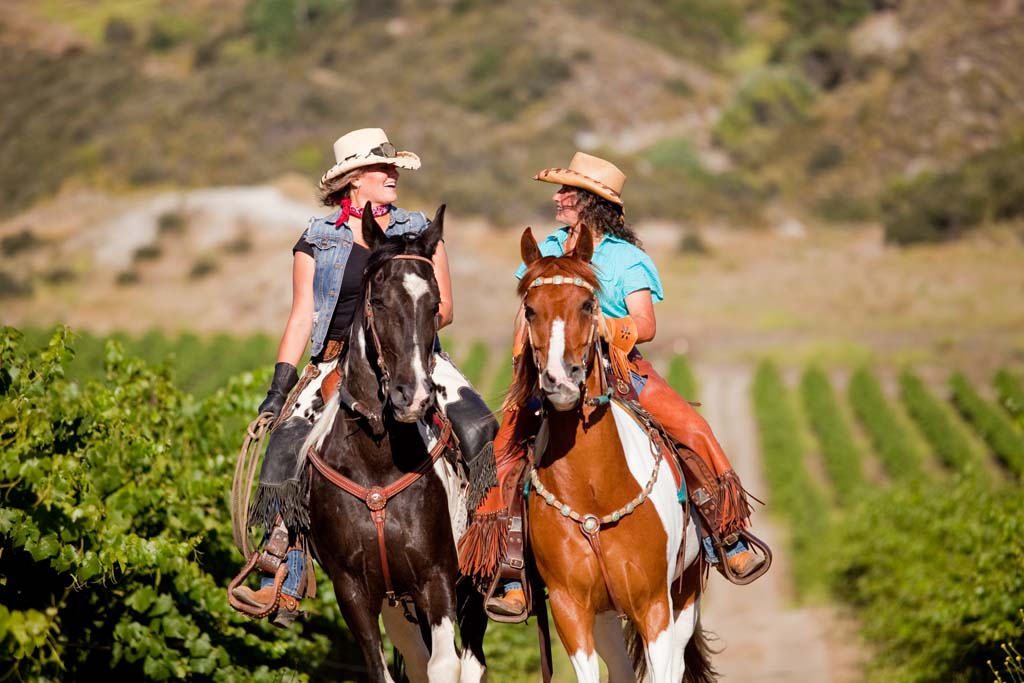 Juanita Koth (left), owner of Gaits in the Grapes, and Silver Stapleton, ride among the vineyards in Temecula's Wine Country. Gaits in the Grapes offers horse owners customized, guided trail rides on many of the unmarked trails throughout Temecula Valley and the surrounding mountains. Riders can begin and end their adventures at any of five wineries. At the end of the trail, riders can enjoy lunch and wine-tasting while guides care for the horses. (Courtesy photo)