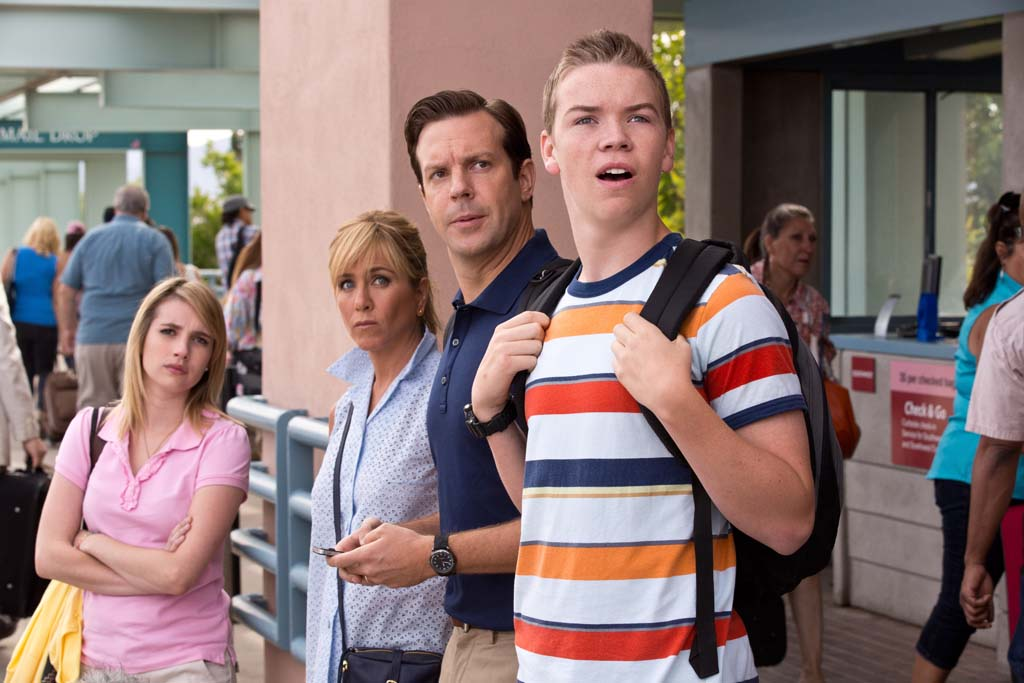 "From left Casey Mathis (Emma Roberts), Rose O'Reilly (Jennifer Aniston), David Clark (Jason Sudeikis) and Kenny Rossmore (Will Poulter) in ""We're The Millers."" Photo by Michael Tackett"