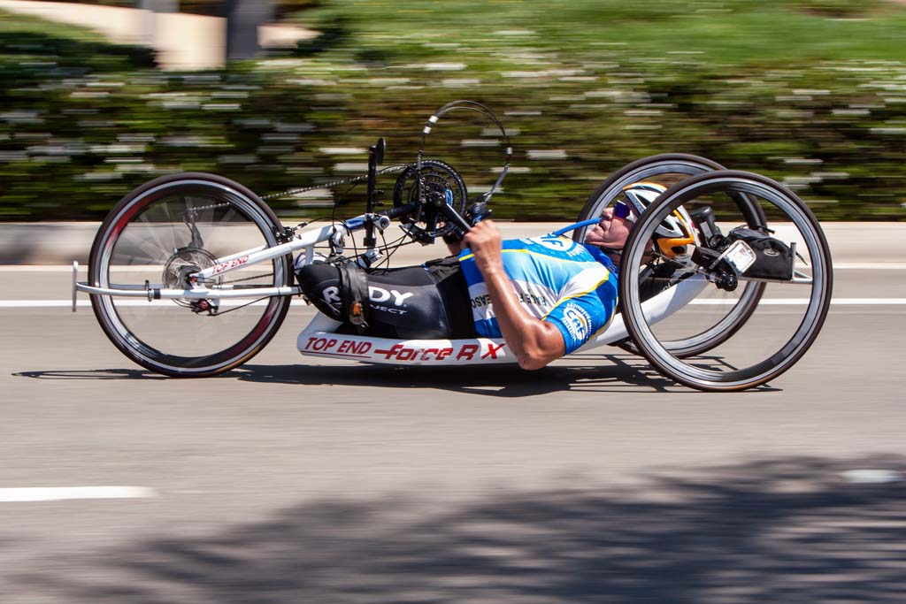 The Carlsbad Grand Prix featured a race for more than 600 riders, including Paralympics hand cyclists. Photo by Bill Reilly