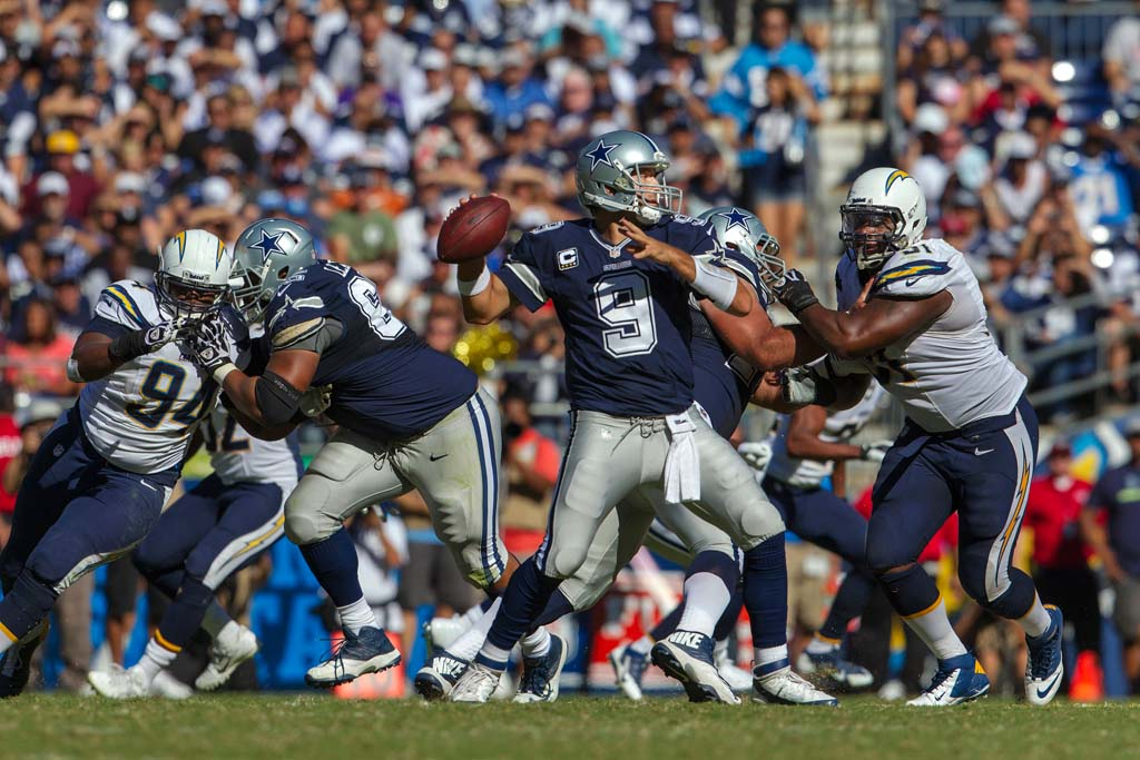 Cowboys quarterback Tony Romo drops back to pass during the Chargers football game against the Dallas Cowboys Sunday at Qualcomm Stadium. Photo by Bill Reilly