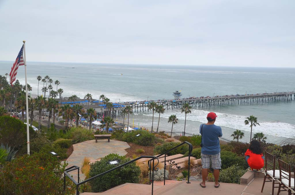The back patio of Casa Romantica, home of San Clemente founder Ole Hanson, offers this view of the San Clemente pier. The home was built in 1927 and is on the National Register of Historic Places. (Photo by Jerry Ondash)