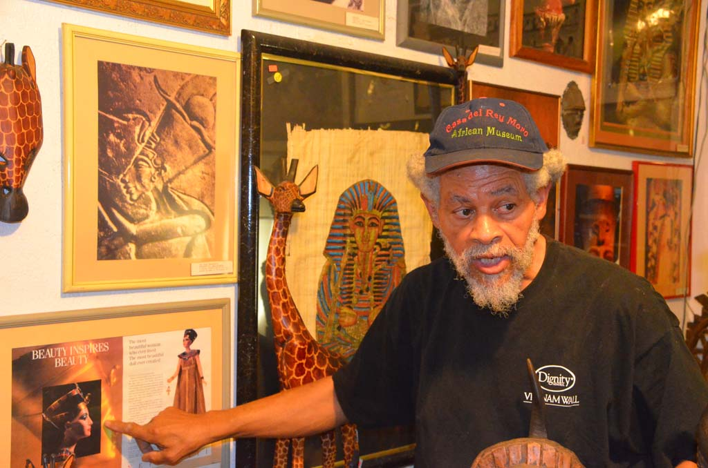 Chuck Ambers, a teacher for 30 years with the Chula Vista School District, has dedicated his retirement years to establishing the African Museum in Old Town and teaching visitors and students history from the African perspective. He is a 1965 MiraCosta alum. (Photo by Jerry Ondash)
