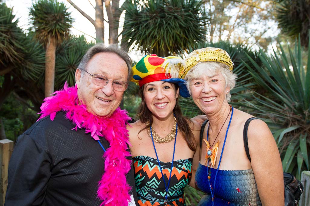 San Marcos residents Richard Borevidz, Shona Borevidz, and Mary Borevidz dress up for a photo booth provided by San Diego based Starlight Photo Booth. Photo by Daniel Knighton