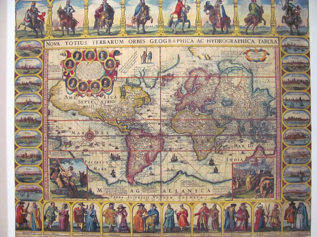 This colorful, detailed map of the world as cartographers thought it to be in 1632 is amazingly accurate for the time. In the top left corner of the map are portraits of great explorers, and in the lower left corner, Adam and Eve. (Courtesy photo)