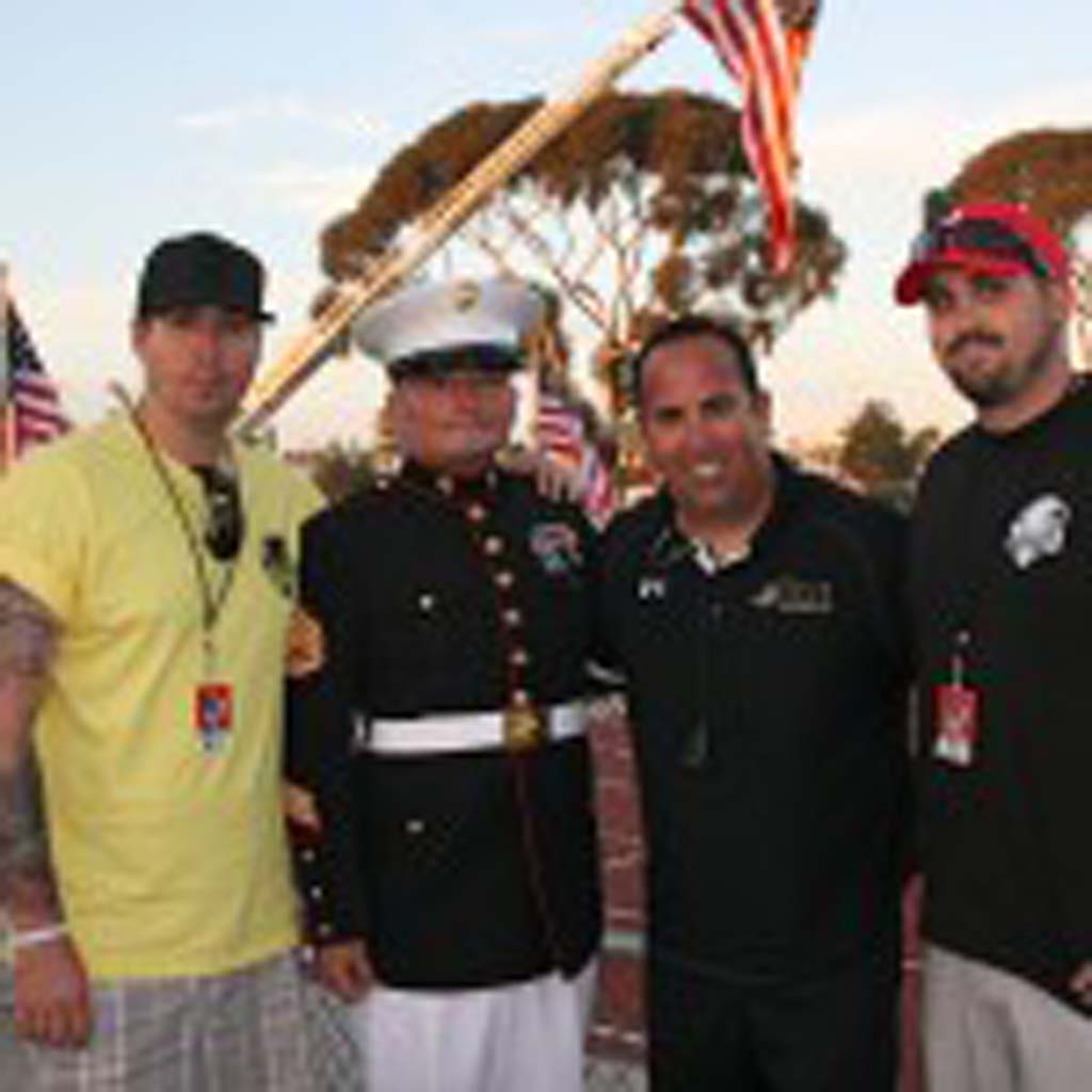 From left: active duty military Ben Soto, former Marine Tim Chambers, Honor Group founder Mark Soto, and active duty military Joshua Soto at the Honor Bowl. Mark Soto said his sons Ben and Joshua are his inspiration for the Honor Bowl. Photo by Promise Yee