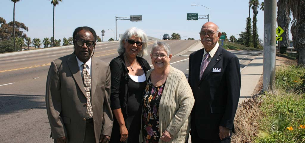 From left: Committee members Willie Little, Maria Russell, Diane Strader and Charles Adams (Gwen Sanders not pictured). The Martin Luther King, Jr. Bridge will be dedicated Sept. 26. Photo by Promise Yee