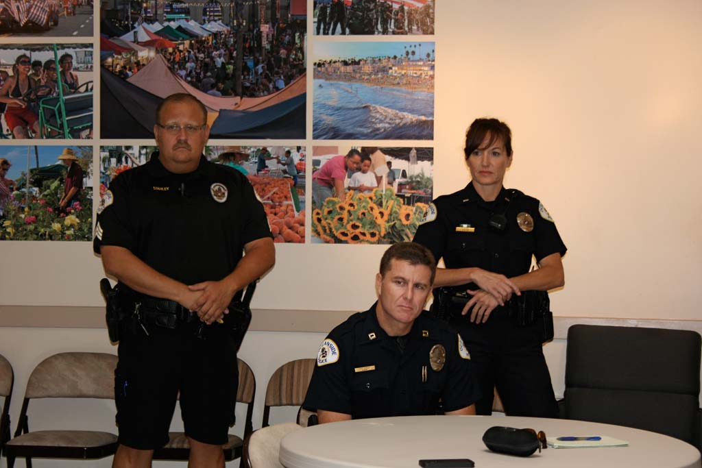 From left: Sgt. Greg Stahley, Capt. Fred Armijo and Lt. Karen Laser share how they are solving downtown problems with community based policing. Residents said they noticed improvements. Photo by Promise Yee