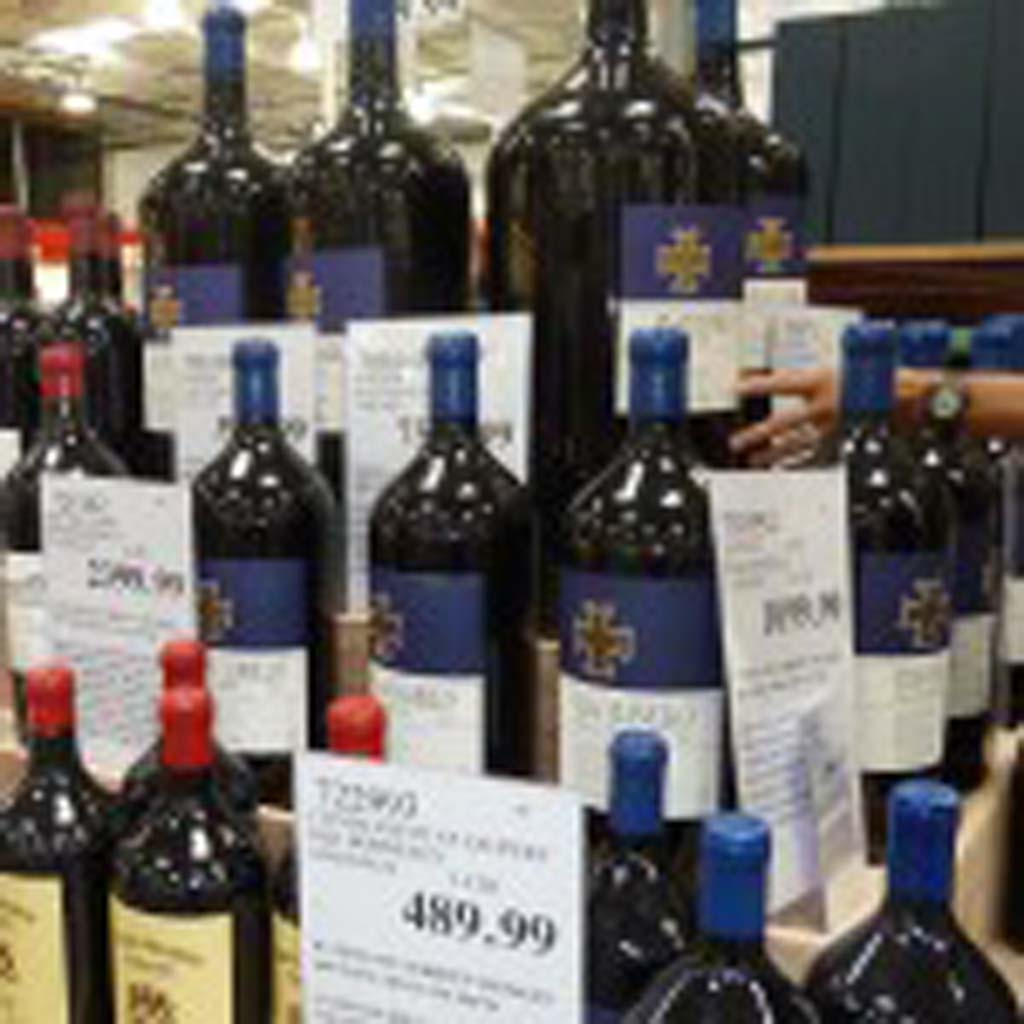 Big format wine bottles are attracting crowds at COSTCO. Photos by Frank Mangio
