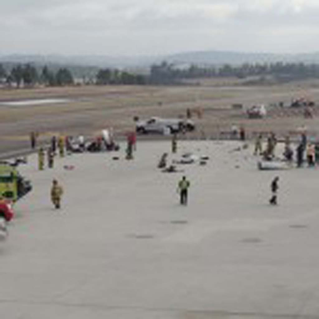 Emergency personnel from throughout San Diego County responded to a simulated plane crash at McClellan-Palomar Airport on Oct. 3. Photos by Rachel Stine