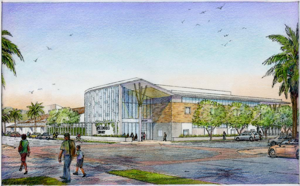 Group 4 Architecture, Research + Planning, Inc. has already completed renderings of the Escondido Public Library expansion, but needs funding from the city to develop a complete design. Rendering courtesy of Group 4 Architecture, Research + Planning, Inc.