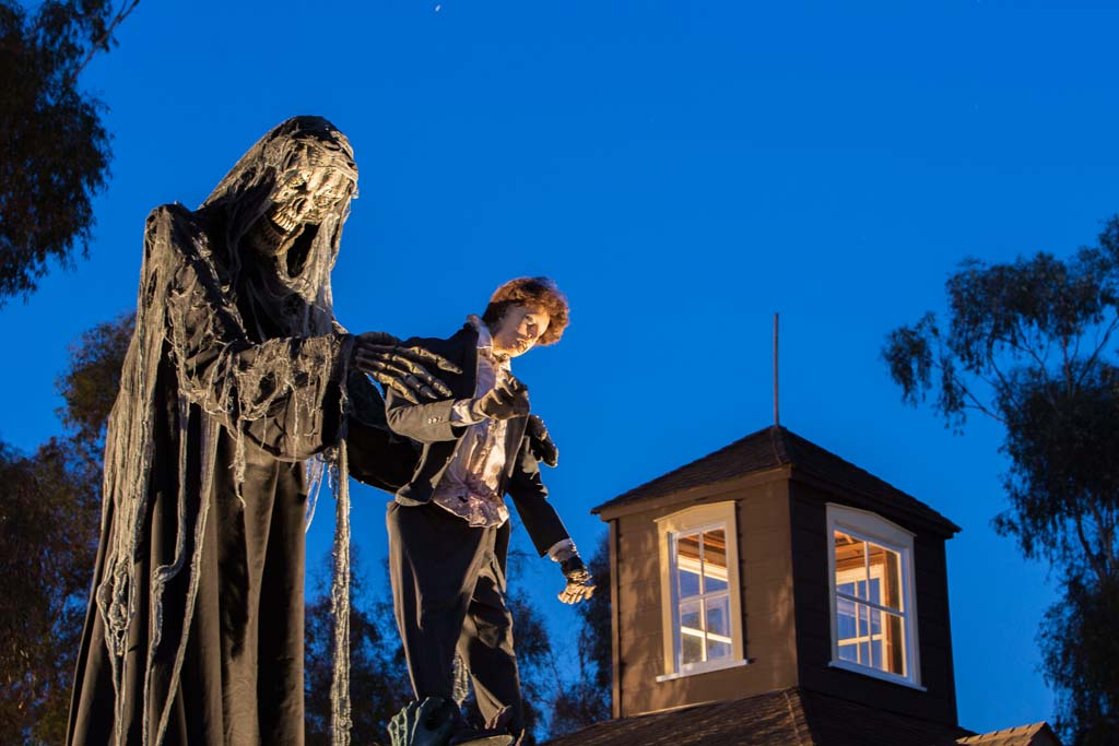A ghoulish display outside the Olivenhain Haunted Hotel on Saturday. Photo by Daniel Knighton