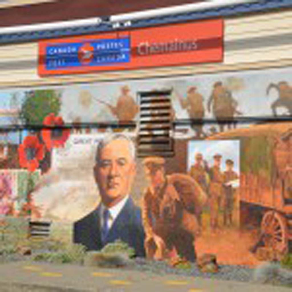 This mural, painted in 2002 by David Goatley, depicts the important connection provided by Canada's post office between Chemainus residents and soldiers at the front during World War I. It is one of 40-plus murals that make up the town's outdoor gallery, which draws visitors from all over the world. Besides Canada, artists hail from the United States, Scotland, Germany and the Bahamas.
