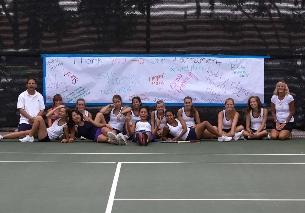 San Dieguito Academy High School Girls tennis team takes a break after last year's SDA Community Tennis Tournament. This year it will be from 2 to 8 p.m. Oct. 5 at the Bobby Riggs Tennis Club, 875 Santa Fe Drive, Encinitas. Courtesy photo