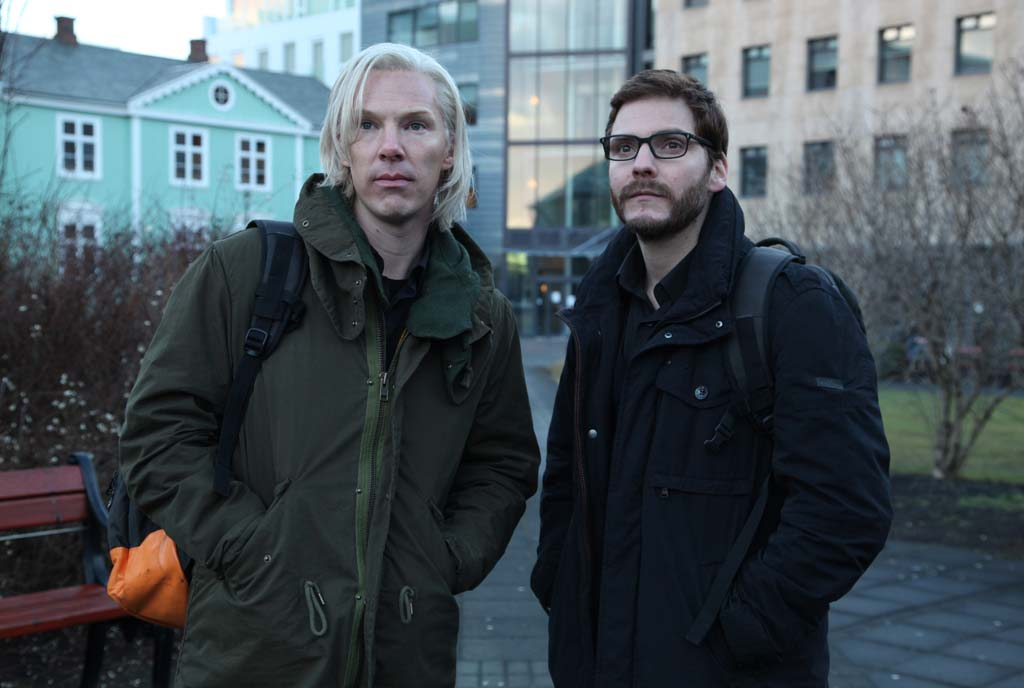 "Julian Asange (Benedict Cumberbatch), left, and Daniel Domscheit-Berg (Daniel Bruhl) in ""The Fifth Estate,"" the story about the founding of WikiLeaks. Photo by Frank Connor"