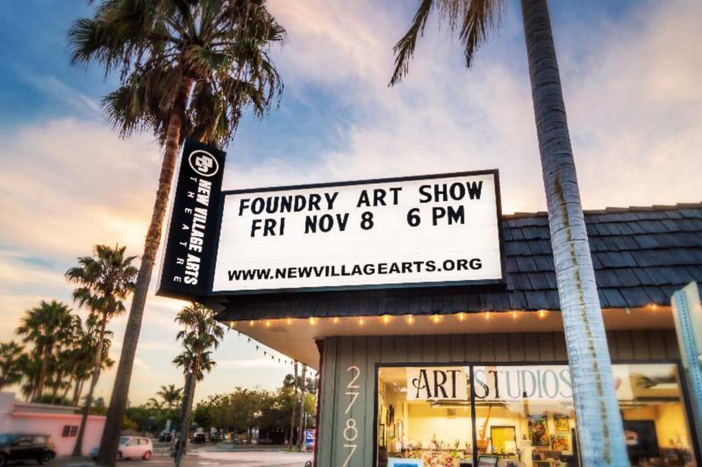 With a little help from their friends, New Village Arts Theatre in Carlsbad, now has a bright, lighted marquee above its new home. Photo courtesy of Ben Swanson