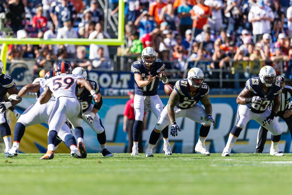 The Chargers can't overcome early scores by the Denver Broncos in the 28-20 loss on Sunday. Photo by Bill Reilly