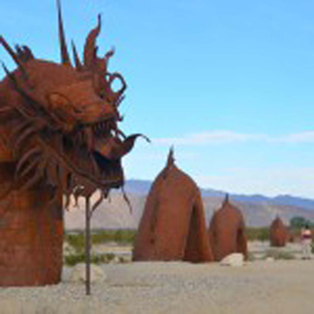 This 350-foot dragon appears to be crossing the north end of Borrego Springs Road. Sculptor Ricardo Breceda, who was born in Durango, Mexico, took four months to create this behemoth in his Perris workshop. It took three months and a dozen workers to install it, and cost about $40,000.