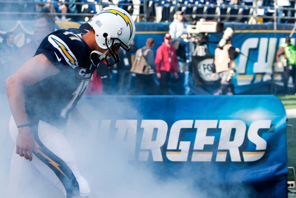 Chargers quarterback Philip Rivers (17) enters the field during introductions prior to kickoff at Qualcomm Stadium on Sunday.