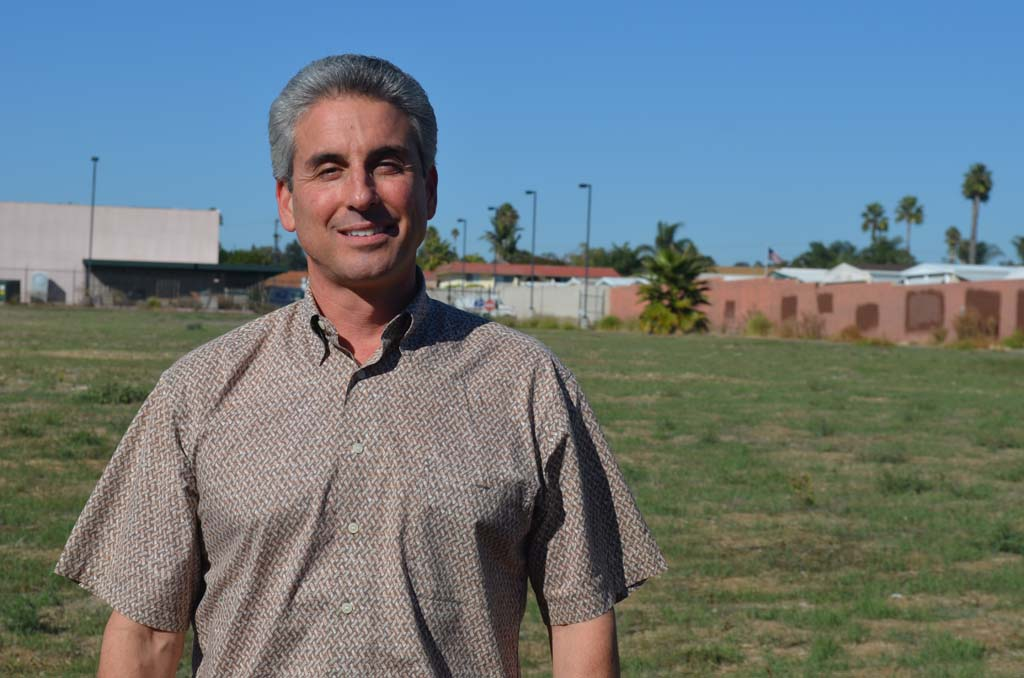 Dan Gibbs, CEO of Home Town Farms LLC stands at the site in Vista where a new retail store and greenhouse will sell and grow local organic fruits and vegetables. Gibbs is turning to accredited investors to get the new venture off the ground. Photo by Tony Cagala