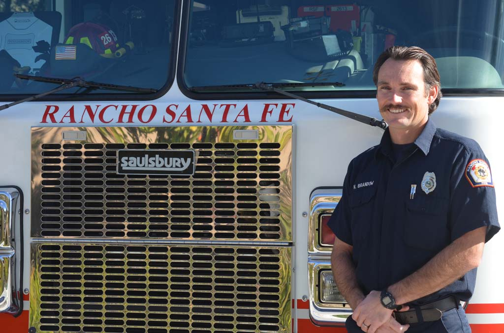 Engineer Nick Brandow is this year's recipient of the David B. Dewey Award. Brandow has been a firefighter with the Rancho Santa Fe Fire Protection District since 2004. Photo by Tony Cagala