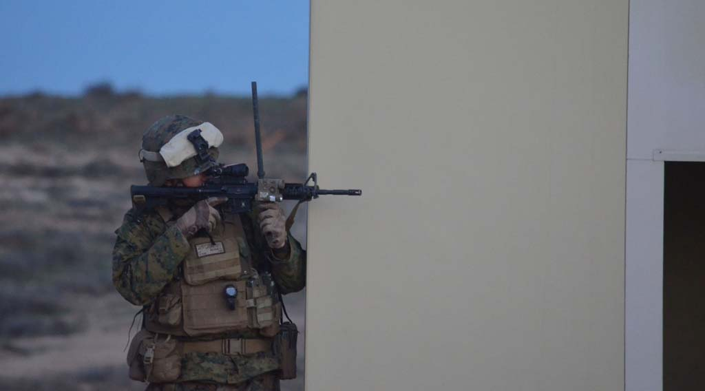 A Marine stands at the ready during Exercise Steel Knight at Camp Pendleton. Photo by Rachel Stine