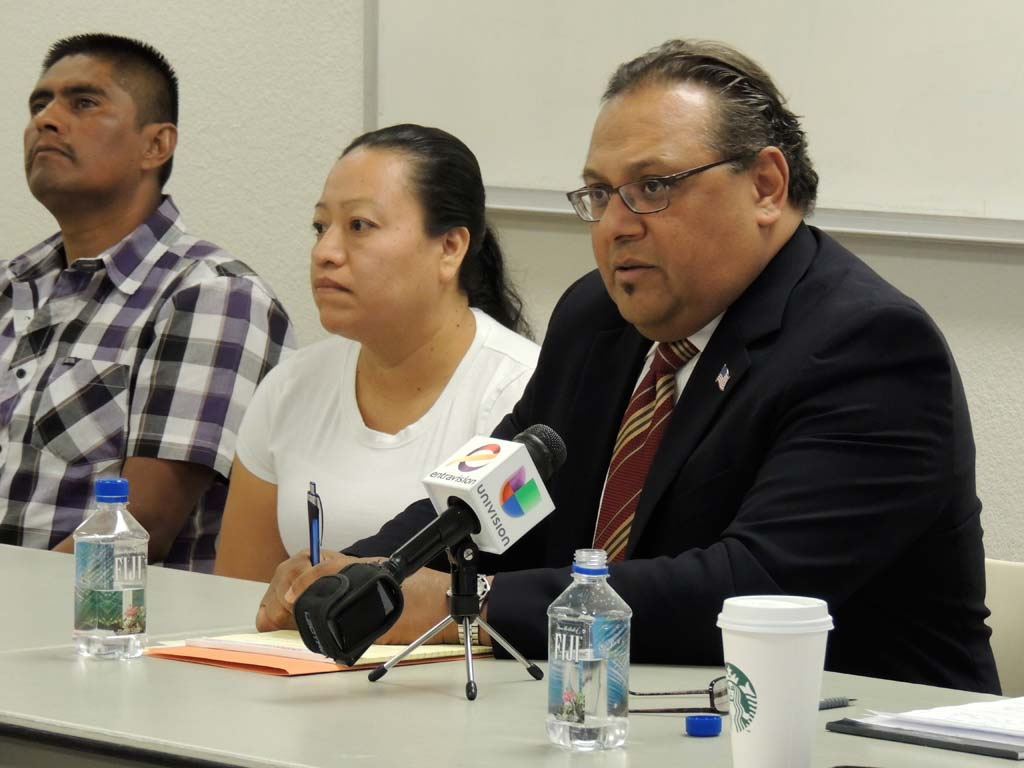 The Campos family's attorney Victor Torres, right, describes the lawsuit at a press conference on Jan. 13. Pedro Campos's sister, Antonia Campos, said that she decided to file a lawsuit after having difficulty finding out what happened to her brother from the Escondido Police Department. Photo by Rachel Stine