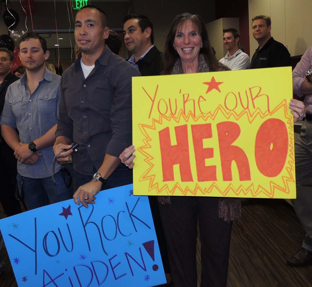 Several Spinal Elements employees joined in on the fun and made signs for Whisett.