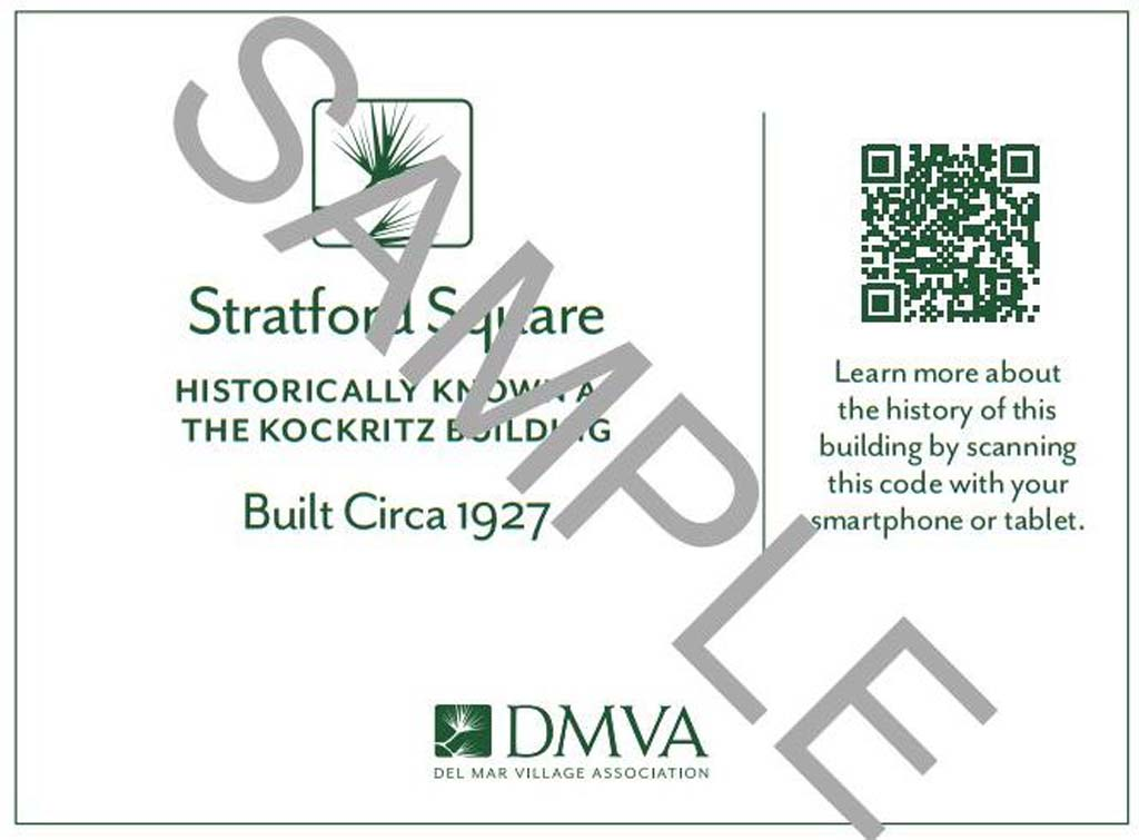 Plaques such as this one can now be installed on nearly a dozen historic buildings after council members exempted such signage from the municipal code during the Jan. 6 meeting. Courtesy sample Del Mar Village Association