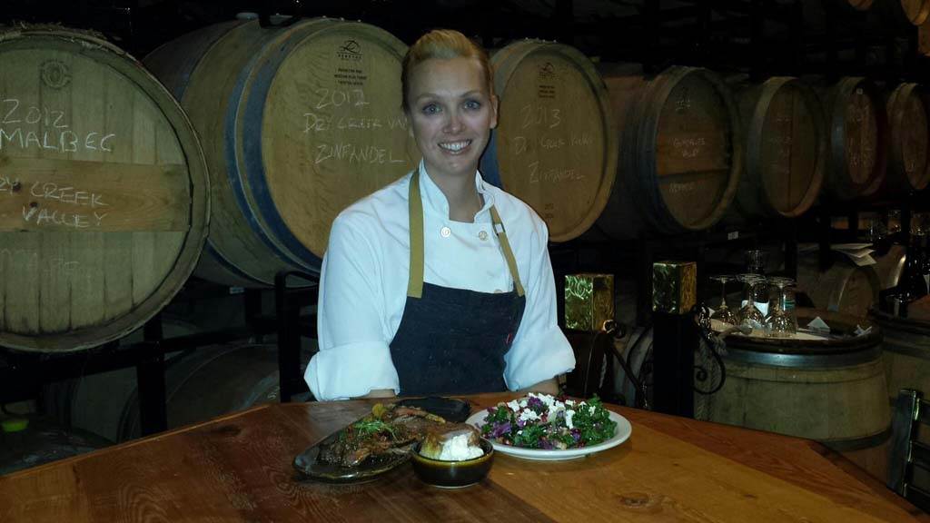 Solterra Chef de Cuisine Suzy Williams with her perfect meal. Photo courtesy Solterra