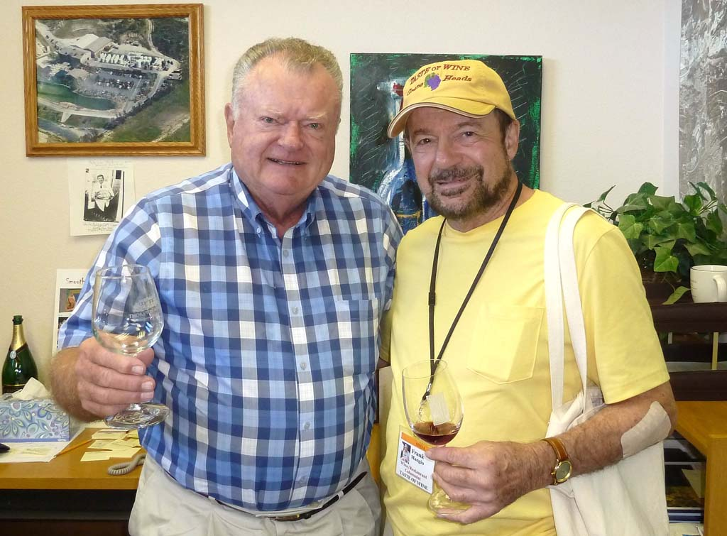 John Thornton, left, of Thornton Winery in Temecula introduces columnist Frank Mangio to his new wine releases.