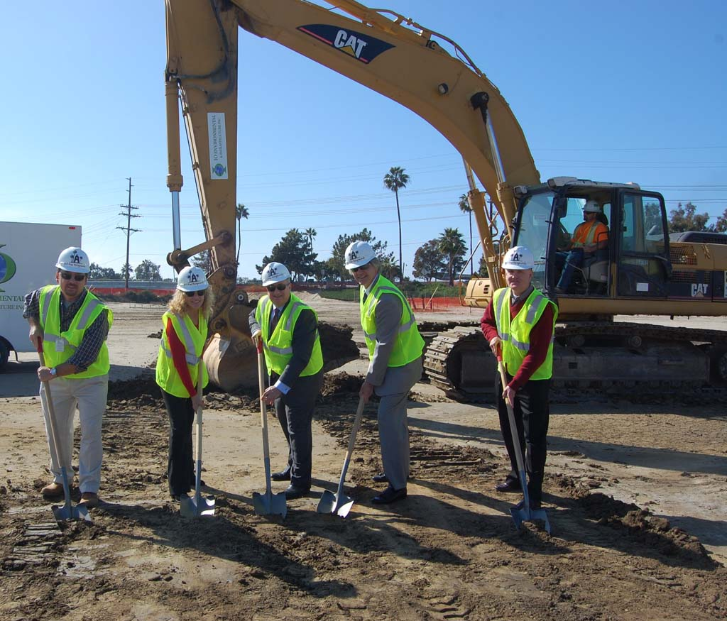 Taking part in the groundbreaking are, from left, Environmental Planner Dustin Fuller, Deputy General Manager Becky Bartling, fair board President Fred Schenk, General Manager Tim Fennell and Vice President David Watson. Photo by Bianca Kaplanek