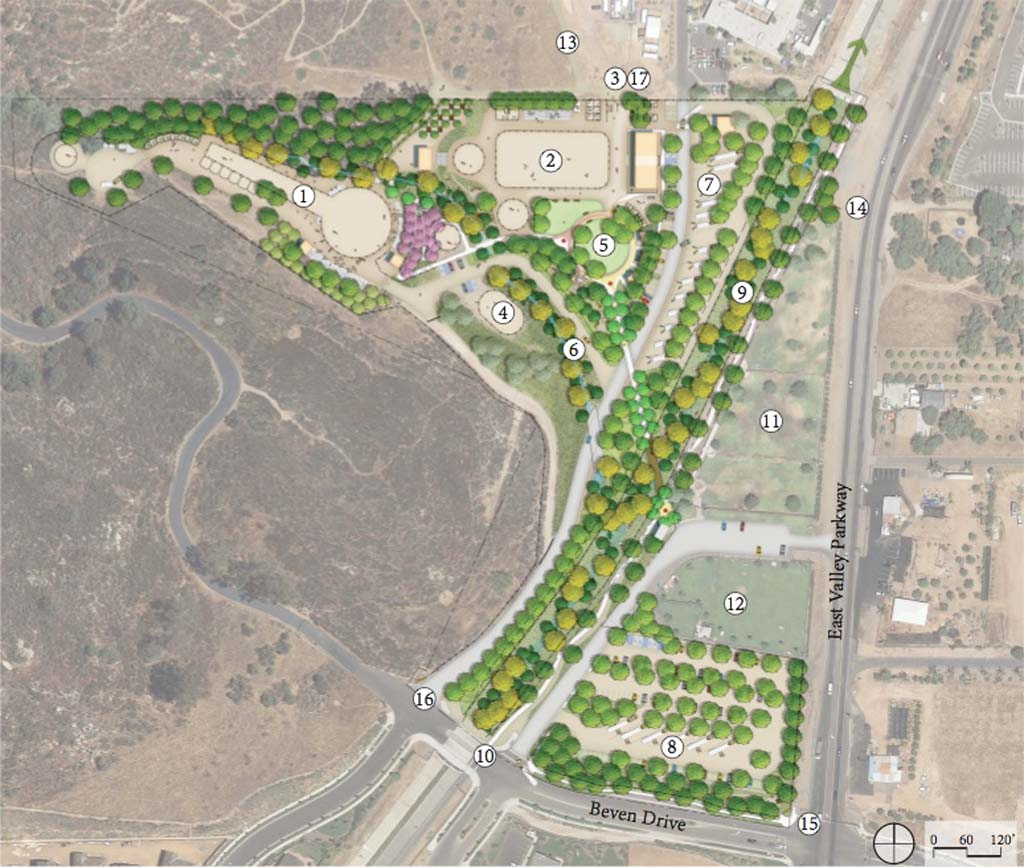 The draft master plan for the unfunded El Caballo Park includes new corrals (14), bull corrals (18), pens (19), bleachers (2), ticket booth and restrooms (4), announcer's stage (10), and band stand (11). Image courtesy of the City of Escondido and Wynn-Smith Landscape Architecture, Inc.