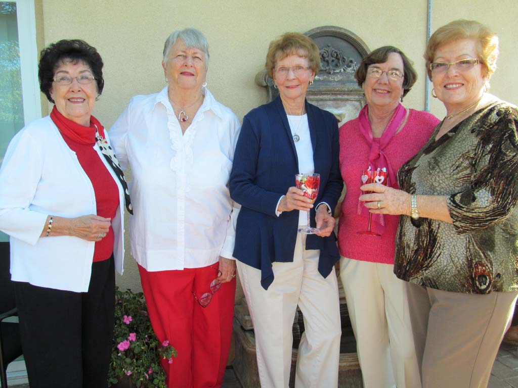 From left, Hospice of North County volunteers June Kelly, Mary Lou Elliott, Jean Newmeyer, Isobel Haring and Colleta Davis are honored for having devoted many hours a week for a combined 60 years. Courtesy photo
