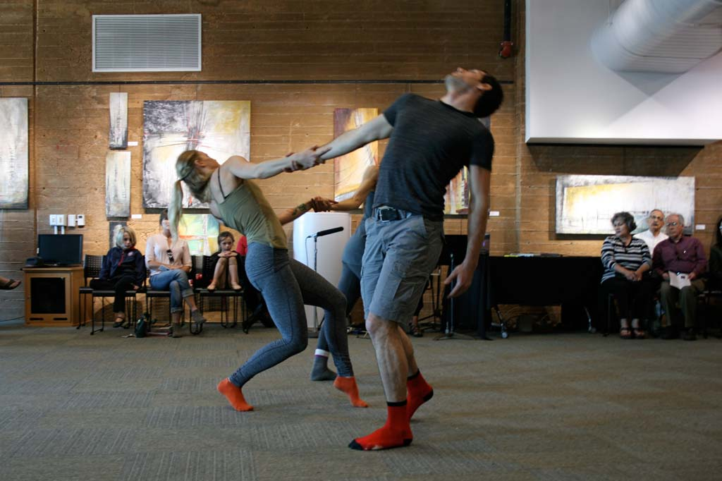 Dancers, musician, and painter collaborate in the first of four stirring performances