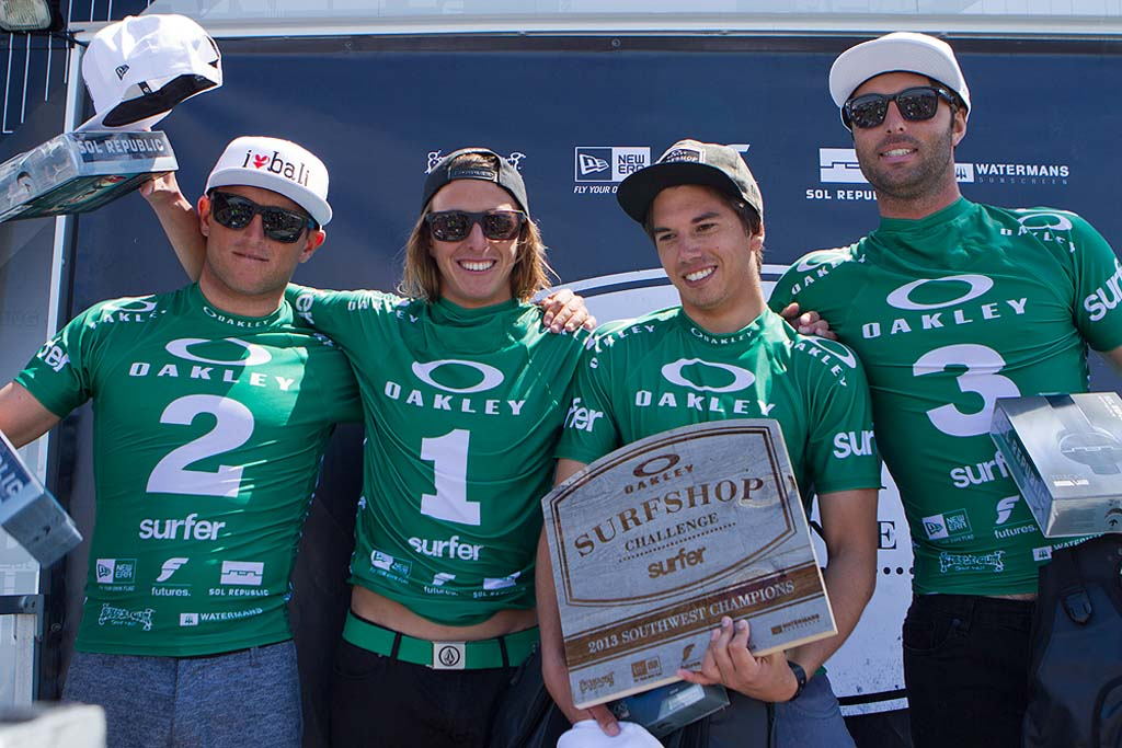 From left: Oceanside's Surf Ride team Darrel Goodrum, Gabe Garcia, Brent Reilly and Aaron Coyle. The surf shop team won the 2013 Oakley Surf Shop Challenge southwestern regional final. They're looking to repeat this year. Photo by Bryce Lowe-White