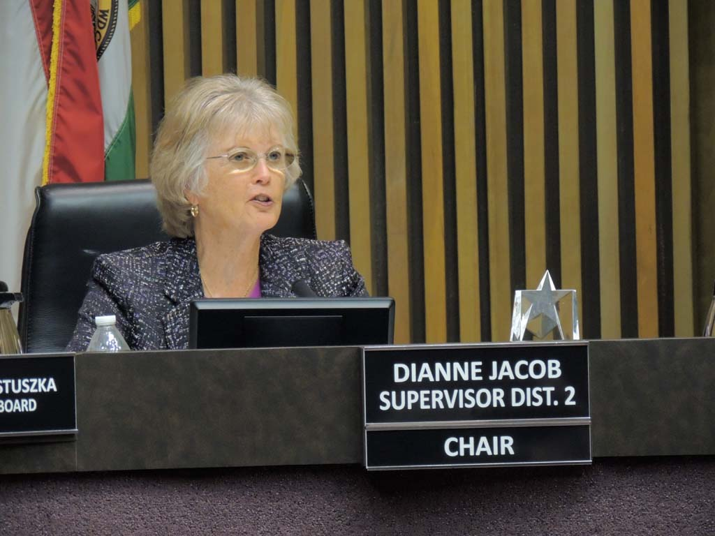 """I believe the county must do all it can to safe guard our elderly,"" says Supervisor Dianne Jacob at the March 11 meeting. Photo by Rachel Stine"