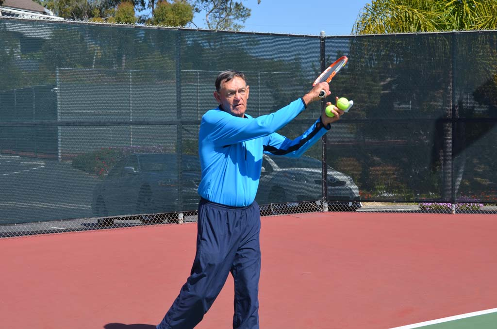 Brad Humphreys, who signed on as a pro with the San Dieguito Tennis Club in 1970, recently announced his retirement from the club. Mental toughness and fundamentals are signature lessons he tries to impart. Photo by Jared Whitlock