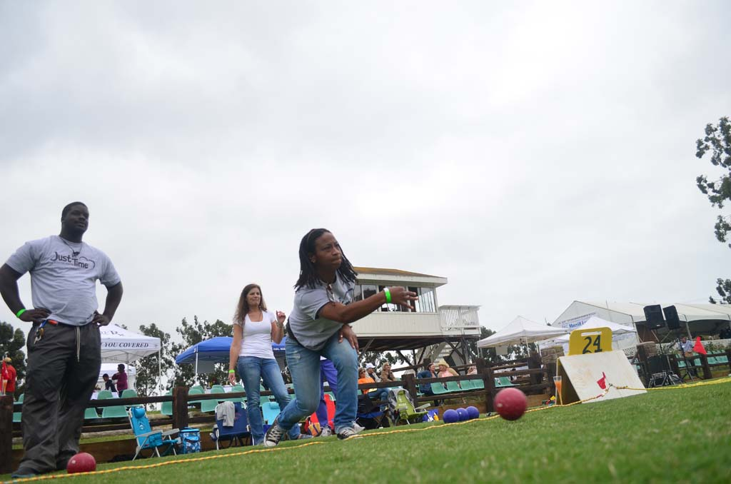 Kesia Williams of Just in Time, one of the benefactors of the tournament's fundraising efforts, bowls her ball. Photo by Tony Cagala