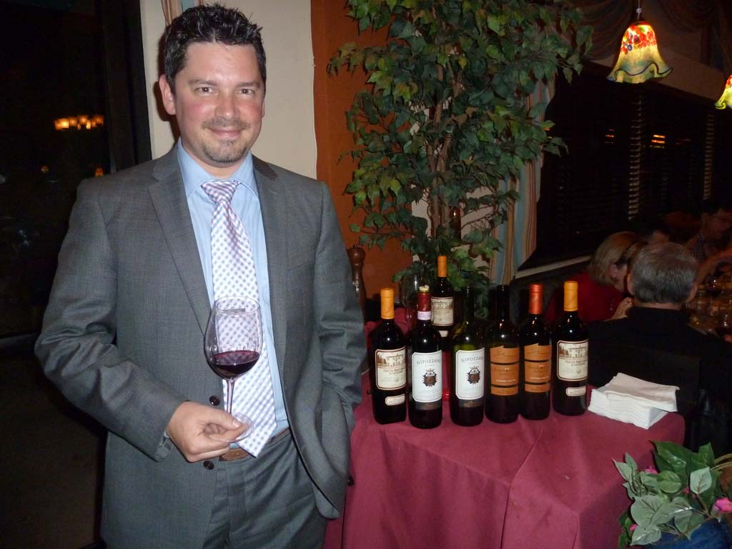 Italian wine specialist Marcos Mizzau was at Vittorio's in San Diego presenting the lineup of Frescobaldi Wines from Tuscany, Italy. Photo by Frank Mangio