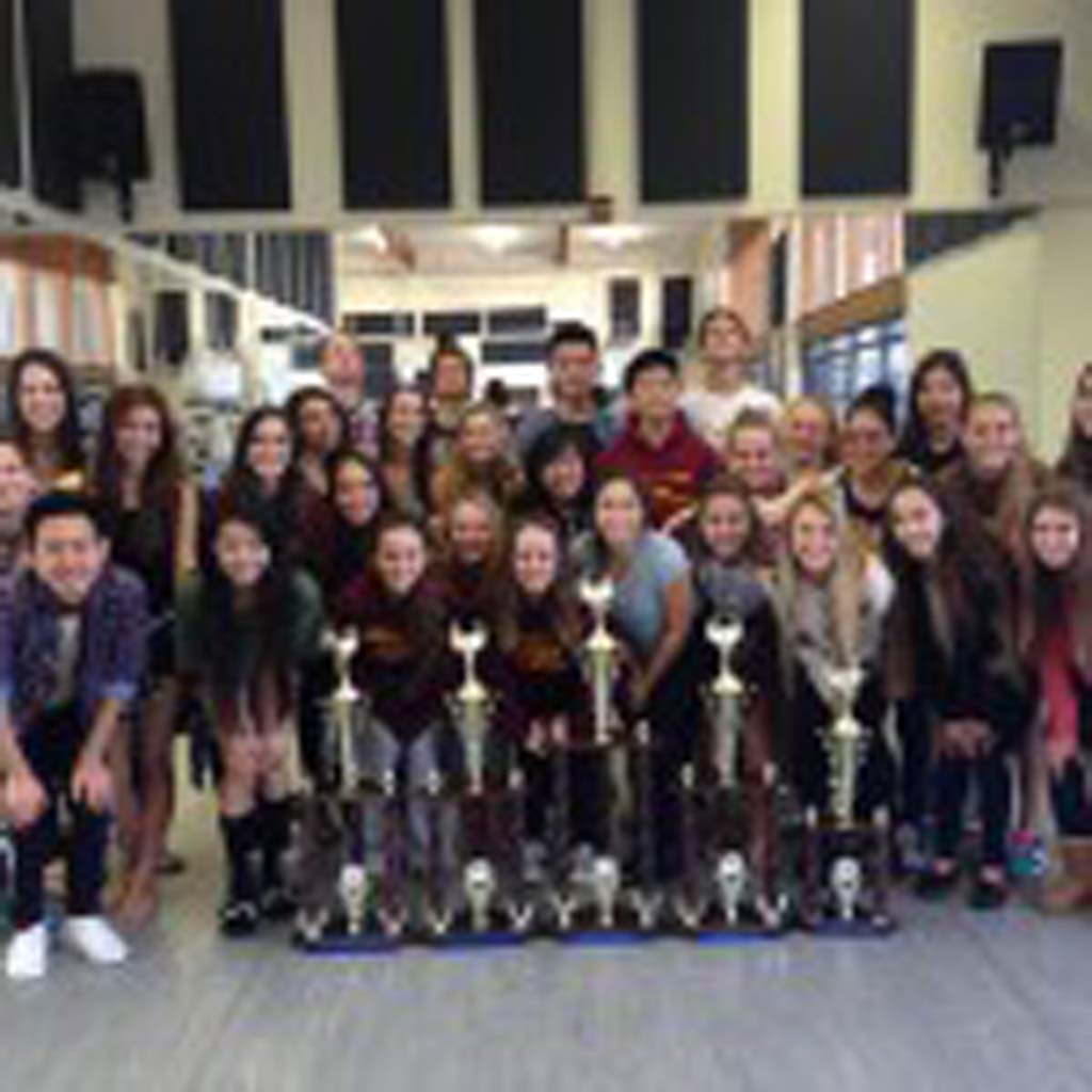 Torrey Pines High School Varsity dancers placed third and the team brought home five trophies from a recent championship competition in Anaheim. Courtesy photos