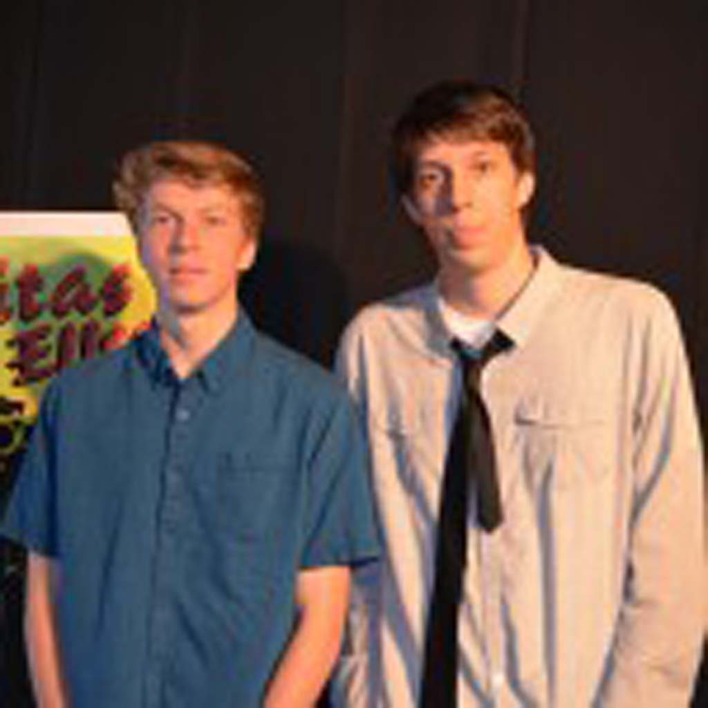 Students Austin Rasmussen (left) and Cody Griffin put together Metamorphosis, a short film inspired by Franz Kafka.