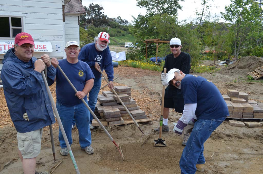 From left to right: Dan Daniels, Ralph Stone, Mike Walsh, Dean Goetz and Rodger Bolus work on a walkway at the San Dieguito Heritage Museum. The museum is adding exhibits.