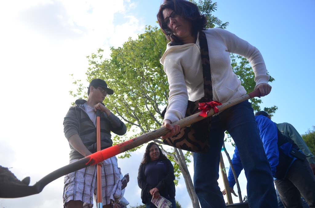Volunteers help dig in to celebrate Arbor Day on April 5. Photo by Tony Cagala
