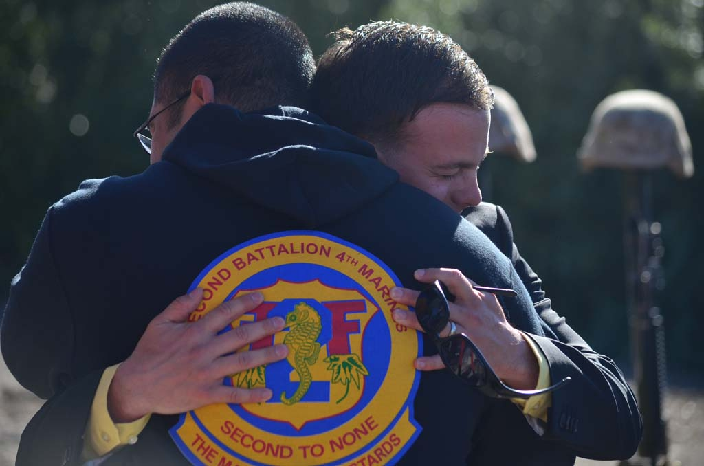 Veterans reunite during the commemoration of the Battle of Ramadi on April, 6 at Camp Pendleton. Photo by Tony Cagala