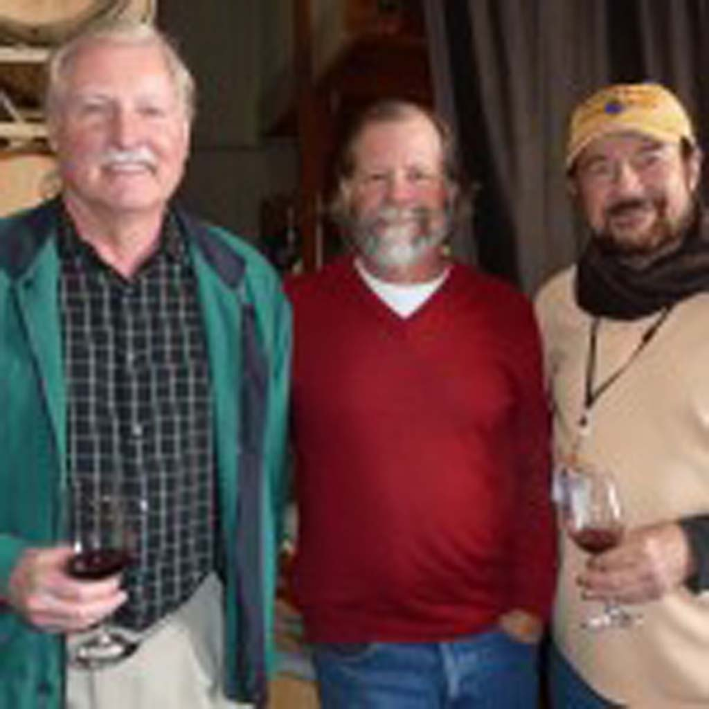 Ray Falkner, newly minted winemaker Duncan Williams and columnist Frank Mangio. Photos by Frank Mangio