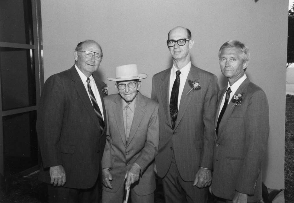 """Pictured from left: Scripps Encinitas founders Dr. Charles Clark, Herman """"Pop"""" Weignad, Dr. Ronald Summers and Dr. Dwight Cook (1988 at opening of west wing addition). Photo courtesy Scripps Health."""