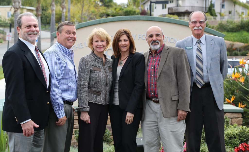 From left to right: Tim Baird, EUSD superintendent; Jim Farley, CEO Leichtag Foundation; Susan Hight, executive director Magdalena Ecke Family YMCA; Pam Ferris, president Seacrest Village; Roger Bolus, San Dieguito Heritage Museum board member; Julian Duval, president San Diego Botanic Garden. These representatives signed an agreement to strengthen an environmental education hub that's taking root on Quail Gardens Drive.