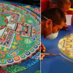 The Monks of Gaden Shartse Monastery create a sand mandala in the Oceeanside Museum of Art lobby, that will be on display during museum hours April 26 and April 27. Courtesy photos
